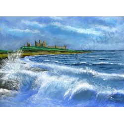 Choppy Seas Dunstanburgh by Andrew Waller