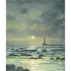 Roker Pier Moon Rise by Robert Wild