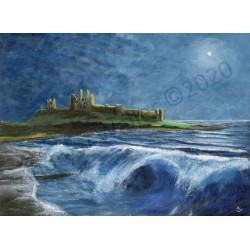 Windswept Dunstanburgh Moonlight Night by Andrew Waller